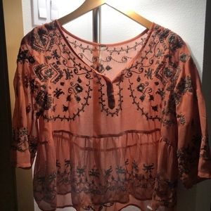 Free People sheer embroidered top